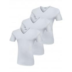 T-Shirt Uomo Liabel Elasticizzante 3 Pezzi Scollo a V Manica Corta Bianco